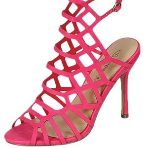 Womens 7 Stiletto Heel Sandals Peep Toe Hot Pink